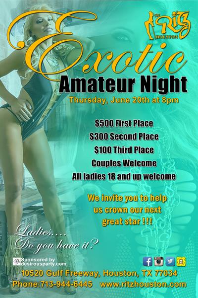 Thu, Jun 20, 2019 Exotic Amateur Night at Ritz Ultra Lounge Public NightClub Houston Texas