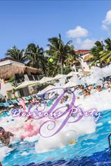 Daytime foam pool party at dirty vibes music fest in Mexico.