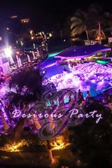 Overhead view of the night time foam pool party at Desire Pearl for dirty vibes music fest.